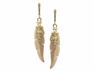 Collection: Old World Style #: 13362 Description: Old World blackened sterling silver/18k yellow gold 35mm long carved Mammoth bone sleek feather earrings with white diamonds and white sapphires. Diamond weight - 0.13 ct.Metal: .925 Sterling Silver/18k Yellow Gold