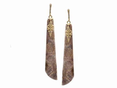Collection: Old World Style #: 13382 Description: Old World blackened sterling silver/18k yellow gold 65mm long natural Fossilized Coral drop earring with white diamonds and white sapphires. Diamond weight - 0.13 ct.Metal: .925 Sterling Silver/18k Yellow Gold