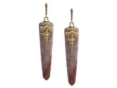 Collection: Old World Style #: 13380 Description: Old World blackened sterling silver/18k yellow gold 52.75mm natural Fossilized Coral drop earring with white diamonds and white sapphires. Diamond weight - 0.24 ct.Metal: .925 Sterling Silver/18k Yellow Gold