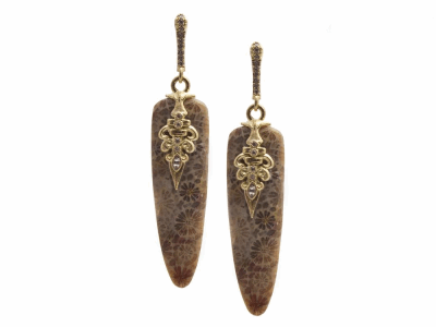 Collection: Old World Style #: 13379 Description: Old World blackened sterling silver/18k yellow gold 37.22mm natural Fossilized Coral drop earring with white diamonds and white sapphires. Diamond weight - 0.13 ct.Metal: .925 Sterling Silver/18k Yellow Gold
