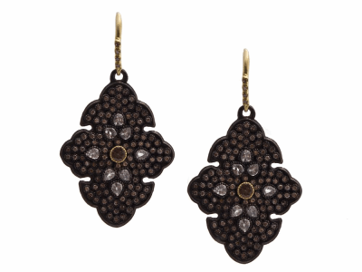 Collection: Old World Style #: 13401 Description: Old World blackened sterling silver/18k yellow gold pave scroll earring with color-change Garnets, champagne diamonds and white sapphires. Diamond weight - 1.33 ct.Metal: .925 Sterling Silver/18k Yellow Gold