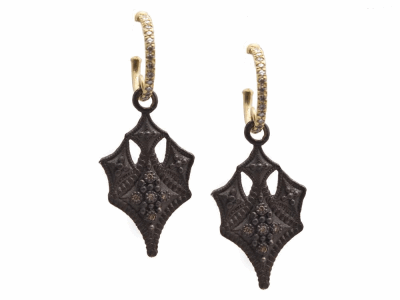 Collection: Old World Style #: 13400 Description: Old World blackened sterling silver/18k yellow gold crivelli drop earring on diamond huggie with white and champagne diamonds. Diamond weight - 0.18 ct.Metal: .925 Sterling Silver/18k Yellow Gold