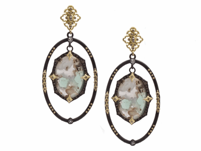 Collection: Old World Style #: 13385 Description: Old World blackened sterling silver/18k yellow gold open oval crivelli earring with hanging center Aquaprase cabochon with champagne diamonds and white sapphires. Diamond weight - 0.66 ct.Metal: .925 Sterling Silver/18k Yellow Gold