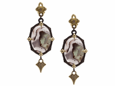 Collection: Old World Style #: 13419 Description: Old World blackened sterling silver/18k yellow gold pointed 23.5mmx16.5mm oval Aquaprase cabochon hanging-crivelli earring with white and champagne diamonds and white sapphires. Diamond weight - 0.61 ct.Metal: .925 Sterling Silver/18k Yellow Gold