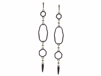 Collection: Old World Style #: 13418 Description: Old World blackened sterling silver/18k yellow gold large open wavy oval chandelier earrings with champagne diamonds. Diamond weight - 1.39 ct.Metal: .925 Sterling Silver/18k Yellow Gold