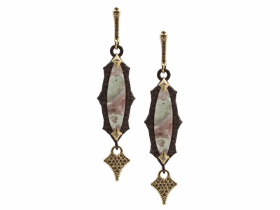 Collection: Old World Style #: 13417 Description: Old World blackened sterling silver/18k yellow gold scalloped 24x6mm marquis Aquaprase cabochon hanging-crivelli earring with white and champagne diamonds. Diamond weight - 0.7 ct.Metal: .925 Sterling Silver/18k Yellow Gold