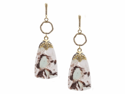 Collection: Old World Style #: 13421 Description: Old World blackened sterling silver/18k yellow gold 32.89mm Aquaprase slice circle-drop earring with white diamonds. Diamond weight - 0.44 ct.Metal: .925 Sterling Silver/18k Yellow Gold