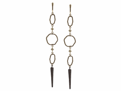 Collection: Old World Style #: 13420 Description: Old World blackened sterling silver/18k yellow gold open circle and oval chandelier earring with champagne diamonds. Diamond weight - 1.5 ct.Metal: .925 Sterling Silver/18k Yellow Gold