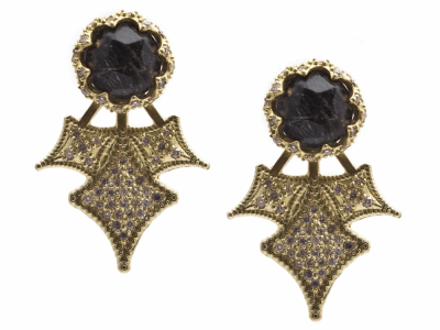 Collection: Old World Style #: 13425 Description: Old World blackened sterling silver/18k yellow gold 7mm round crivelli burst earring stud and jacket with Rutile triplet and white diamonds. Diamond weight - 0.52 ct.Metal: .925 Sterling Silver/18k Yellow Gold
