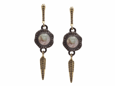 Collection: Old World Style #: 13424 Description: Old World blackened sterling silver/18k yellow gold pave 7mm round dagger-drop earring with Aquaprase cabochon and champagne diamonds. Diamond weight - 0.79 ct.Metal: .925 Sterling Silver/18k Yellow Gold