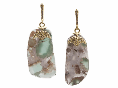 Collection: Old World Style #: 13423 Description: Old World blackened sterling silver/18k yellow gold 34mm Aquaprase slice drop earring with white diamonds. Diamond weight - 0.2 ct.Metal: .925 Sterling Silver/18k Yellow Gold