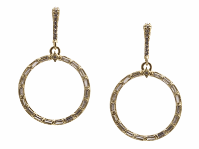 Collection: Old World Style #: 13446 Description: Sueno 18k yellow gold 22mm open round earring with white sapphire baguettes and white diamonds. Diamond weight - 0.1 ct.Metal: .925 Sterling Silver/18k Yellow Gold