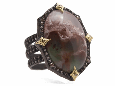 Collection: Old World Style #: 13430 Description: Old World blackened sterling silver/18k yellow gold 23.5x16.5mm oval Aquaprase cabochon triple-band ring with champagne diamonds. Diamond weight - 0.73 ct.Metal: .925 Sterling Silver/18k Yellow Gold