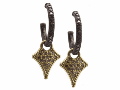 Collection: Old World Style #: 13426 Description: Old World blackened sterling silver/18k yellow gold small pave diamond crivelli drop earring on diamond huggie with champagne diamonds. Diamond weight - 0.28 ct.Metal: .925 Sterling Silver/18k Yellow Gold