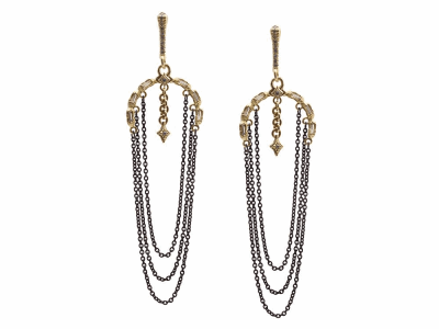 Collection: Old World Style #: 13448 Description: Old World blackened sterling silver/18k yellow gold 22mm half-moon white sapphire baguette earring with hanging chain and white diamonds. Diamond weight - 0.11 ct.Metal: .925 Sterling Silver/18k Yellow Gold