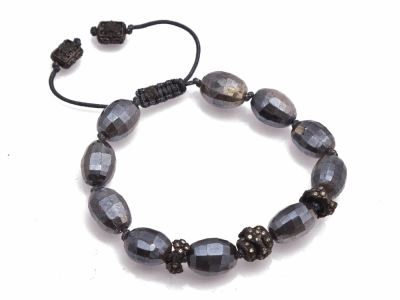 Collection: Old World Style #: 13470 Description: Old World midnight Faceted Grey Australian Moonstone beaded pull bracelet with champagne diamonds. Diamond weight - 0.41 ct.Metal: .925 Sterling Silver/18k Yellow Gold