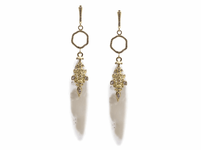 Collection: Old World Style #: 13464 Description: Old World blackened sterling silver/18k yellow gold 55mm large marquis white Aquaprase earring with white diamonds and white sapphires. Diamond weight - 0.4 ct.Metal: .925 Sterling Silver/18k Yellow Gold