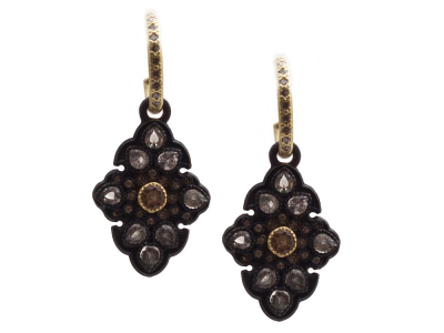 Collection: Old World Style #: 13462 Description: Old World blackened sterling silver/18k yellow gold pave scroll drop huggie earring with color-change Garnets, champagne diamonds and white sapphires. Diamond weight - 0.34 ct.Metal: .925 Sterling Silver/18k Yellow Gold
