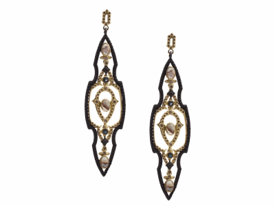 Collection: Old World Style #: 13484 Description: Old World blackened sterling silver/18k yellow gold large open pointed earring with Aquaprase cabochons, blue-green tourmaline, champagne diamonds and black sapphires. Diamond weight - 1.04 ct.Metal: .925 Sterling Silver/18k Yellow Gold
