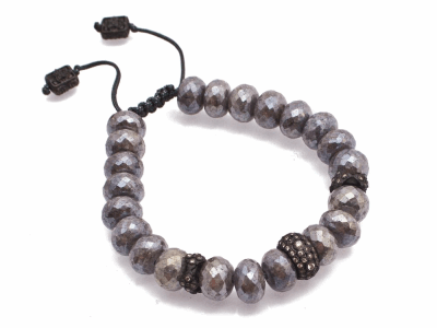 Collection: Old World Style #: 13472 Description: Old World midnight crivelli stack-station beaded pull bracelet with grey coated Moonstone beads and champagne diamonds. Diamond weight - 0.69 ct.Metal: .925 Sterling Silver/18k Yellow Gold