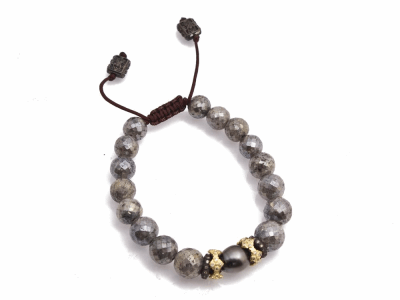 Collection: Old World Style #: 13471 Description: Old World blackened sterling silver/18k yellow gold crivelli stack-station Coated Moonstone beaded pull bracelet with champagne diamonds. Diamond weight - 0.41 ct.Metal: .925 Sterling Silver/18k Yellow Gold