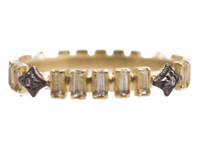 Collection: Old World Style #: 13513 Description: Old World blackened sterling silver/18k yellow gold crivelli ring with white sapphire baguettes and white diamonds. Diamond weight - 0.02 ct.Metal: .925 Sterling Silver/18k Yellow Gold