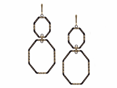 Collection: Old World Style #: 13512 Description: Old World blackened sterling silver/18k yellow gold large double-octagon earring with champagne diamonds. Diamond weight - 0.43 ct.Metal: .925 Sterling Silver/18k Yellow Gold
