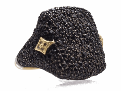 Collection: Old World Style #: 13538 Description: Old World blackened sterling silver/18k yellow gold medium pave signet ring with black sapphires and champagne diamonds. Diamond weight - 0.03 ct.Metal: .925 Sterling Silver/18k Yellow Gold