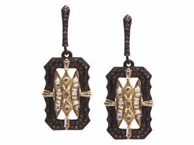 Collection: Old World Style #: 13534 Description: Old World blackened sterling silver/18k yellow gold 20mm scalloped rectangle drop earring with white sapphire baguettes and champagne diamonds. Diamond weight - 0.49 ct.Metal: .925 Sterling Silver/18k Yellow Gold