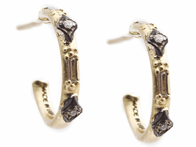 Collection: Old World Style #: 13531 Description: Old World blackened sterling silver/18k yellow gold petite crivelli huggie earring with white sapphire baguettes and white diamonds. Diamond weight - 0.02 ct.Metal: .925 Sterling Silver/18k Yellow Gold