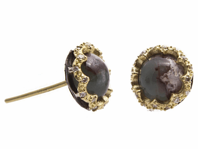 Collection: Old World Style #: 13558 Description: Old World blackened sterling silver/18k yellow gold scalloped 7mm round Aquaprase cabochon stud earring with white diamonds. Diamond weight - 0.13 ct.Metal: .925 Sterling Silver/18k Yellow Gold