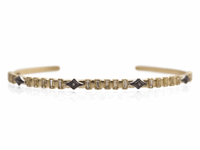 Collection: Old World Style #: 13587 Description: Old World blackened sterling silver/18k yellow gold thin cuff bracelet with white sapphire baguettes and white diamonds. Diamond weight - 0.02 ct.Metal: .925 Sterling Silver/18k Yellow Gold