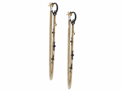 Collection: Old World Style #: 13566 Description: Old World blackened sterling silver/18k yellow gold crivelli chain chandelier earring on champagne diamond huggie with white sapphires. Diamond weight - 0.14 ct.Metal: .925 Sterling Silver/18k Yellow Gold
