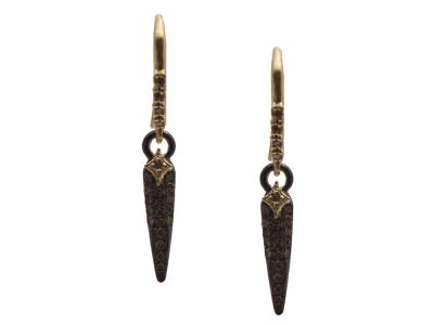 Collection: Old World Style #: 13629 Description: Old World blackened sterling silver/18k yellow gold small crivelli pave spike earring with champagne diamonds. Diamond weight - 0.26 ct.Metal: .925 Sterling Silver/18k Yellow Gold