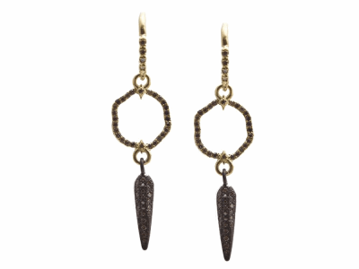 Collection: Old World Style #: 13612 Description: Old World blackened sterling silver/18k yellow gold small crivelli circle and pave spike drop earring with champagne diamonds. Diamond weight - 0.46 ct.Metal: .925 Sterling Silver/18k Yellow Gold