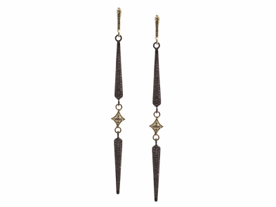 Collection: Old World Style #: 13631 Description: Old World blackened sterling silver/18k yellow gold crivelli and pave double-spike earring with champagne diamonds. Diamond weight - 1.23 ct.Metal: .925 Sterling Silver/18k Yellow Gold