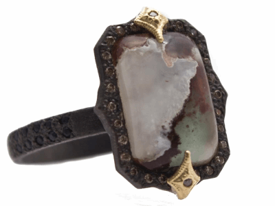 Collection: Old World Style #: 13644 Description: Old World blackened sterling silver/18k yellow gold 13x9 emerald-cut crivelli ring with Aquaprase cabochon, champagne diamonds and black sapphires. Diamond weight - 0.11 ct.Metal: .925 Sterling Silver/18k Yellow Gold