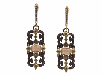 Collection: Old World Style #: 13671 Description: Old World blackened sterling silver/18k yellow gold scrolled rectangle drop earring with Golden Sunstone/Light Brown Pink Gel/White Quartz triplets, champagne diamonds and color-change Garnets. Diamond weight - 0.55 ct.Metal: .925 Sterling Silver/18k Yellow Gold