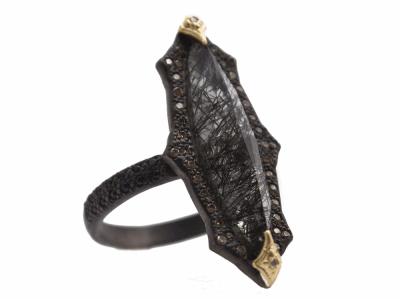 Collection: Old World Style #: 13646 Description: Old World blackened sterling silver/18k yellow gold 24x6mm pointed crivelli marquis ring with Rutile triplet, champagne diamonds and black sapphires. Diamond weight - 0.15 ct.Metal: .925 Sterling Silver/18k Yellow Gold