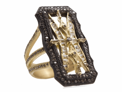 Collection: Old World Style #: 13715 Description: Old World blackened sterling silver/18k yellow gold 30mm scalloped rectangle ring with champagne diamonds and white sapphire baguettes. Diamond weight - 0.77 ct.Metal: .925 Sterling Silver/18k Yellow Gold