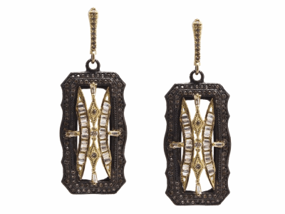 Collection: Old World Style #: 13714 Description: Old World blackened sterling silver/18k yellow gold 30mm scalloped rectangle drop earring with white sapphire baguettes and champagne diamonds. Diamond weight - 1.07 ct.Metal: .925 Sterling Silver/18k Yellow Gold