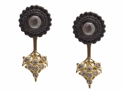 Collection: Old World Style #: 13686 Description: Old World blackened sterling silver/18k yellow gold 3mm round crivelli burst earring stud and jacket with MOP/Light Smoky Quartz doublets and white diamonds. Diamond weight - 0.07 ct.Metal: .925 Sterling Silver/18k Yellow Gold
