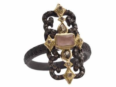 Collection: Old World Style #: 13672 Description: Old World blackened sterling silver/18k yellow gold scrolled rectangle ring with Golden Sunstone/Light Brown Pink Gel/White Quartz triplet, color-change Garnets, champagne diamonds and black sapphires. Diamond weight - 0.22 ct.Metal: .925 Sterling Silver/18k Yellow Gold