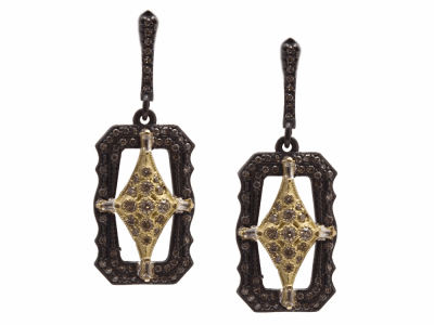 Collection: Old World Style #: 13777 Description: Old World blackened sterling silver/18k yellow gold 20mm scalloped rectangle crivelli drop earring with champagne diamonds and white sapphires. Diamond weight - 0.72 ct.Metal: .925 Sterling Silver/18k Yellow Gold