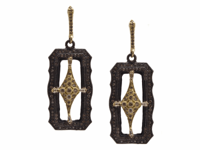 Collection: Old World Style #: 13776 Description: Old World blackened sterling silver/18k yellow gold 30mm scalloped rectangle crivelli drop earring with champagne diamonds and white sapphires. Diamond weight - 1.42 ct.Metal: .925 Sterling Silver/18k Yellow Gold