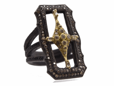 Collection: Old World Style #: 13773 Description: Old World blackened sterling silver/18k yellow gold 30mm scalloped rectangle crivelli ring with champagne diamonds and white and black sapphires. Diamond weight - 0.67 ct.Metal: .925 Sterling Silver/18k Yellow Gold
