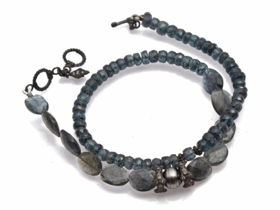 Collection: Old World Style #: 13784 Description: Old World blackened sterling silver stack-station beaded double-wrap bracelet with Moss Aquamarine, Imperial Kyanite, and Tahitian Keshi Pearl beads. Diamond weight - 0.19 ct.Metal: .925 Sterling Silver/18k Yellow Gold