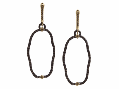Collection: Old World Style #: 13783 Description: Old World blackened sterling silver/18k yellow gold 29mm wavy open oval earring with champagne diamonds. Diamond weight - 0.67 ct.Metal: .925 Sterling Silver/18k Yellow Gold