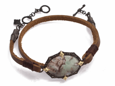 "Collection: Old World Style #: 13781 Description: Old World blackened sterling silver/18k yellow gold 13""-14"" 23.5x16.5mm oval Aquaprase cabochon leather wrap bracelet with champagne diamonds. Diamond weight - 0.21 ct.Metal: .925 Sterling Silver/18k Yellow Gold"