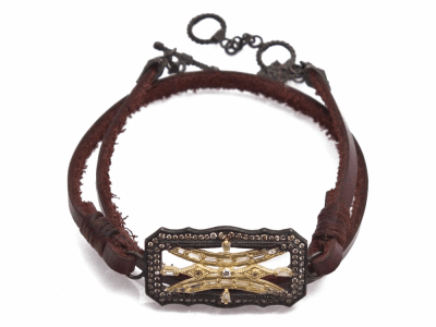 """Collection: Old World Style #: 13836 Description: Old World blackened sterling silver/18k yellow gold 13""""-14"""" 30mm scalloped rectangle leather-wrap bracelet with white sapphire baguettes and champagne diamonds. Diamond weight - 0.49 ct.Metal: .925 Sterling Silver/18k Yellow Gold"""